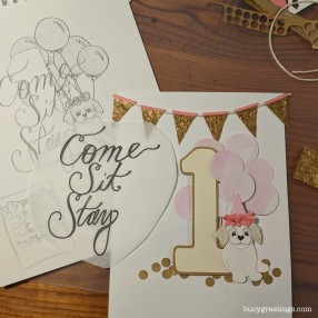 Party Invitations - Hand drawn design for a little girl's dog themed first birthday party. The design is cut from layers of paper and then photocopied and mounted to a textured reverse side (postcard style) and delivered with envelops. ($35 for 20 prints + 1 original)