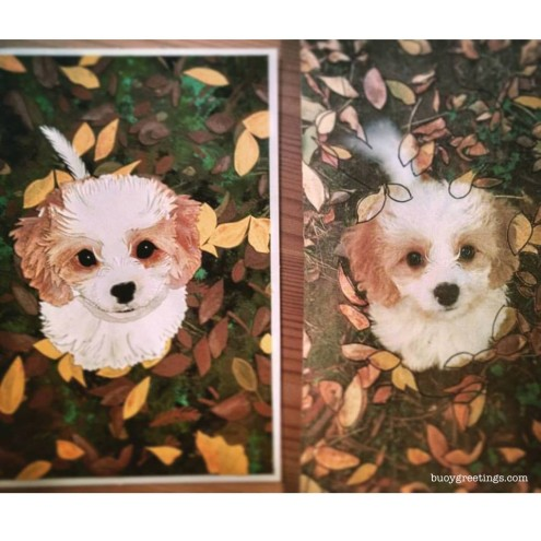 Doggo Card - Handmade reproduction from a photo of this cute little good boy in the autumn leaves. This features layers of paper, some with paint or pastels to create extra details. ($20)