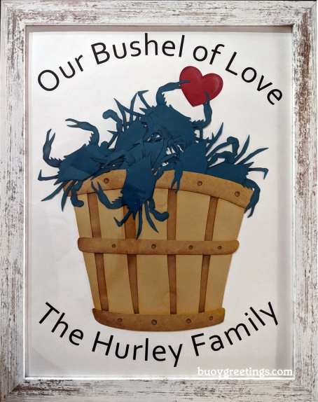 """Wall Art - Giant sized version of my best selling """"love bushel."""" Custom number of crabs and family name. Framed, 18""""x24"""" ($80)"""
