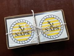 Small Cards - Set of 30 small cards with the NAPS Logo. Navy blue envelopes too with a gold pen to write on them ($75)